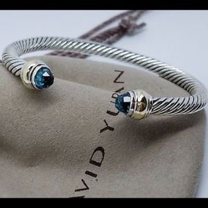 David Yurman 5mm Blue Topaz & Gold Bracelet